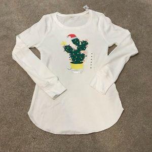 NWT Christmas Cactus Thermal Pajama Top